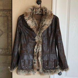 Scully Women's Brown Faux Fur & Suede Jacket Small
